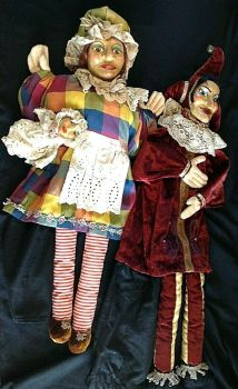 Antique Punch Judy Baby puppets puppet composition painted