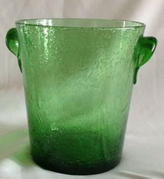 Vintage green French bubble glass large champagne ice bucket label Biot France