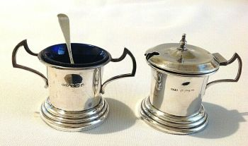 Antique sterling silver Art Deco salt mustard pot & spoon hallmarked Birmingham 1930