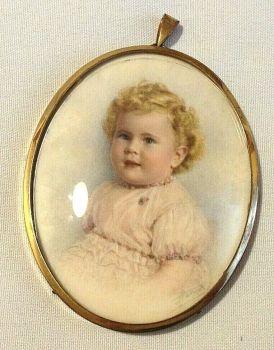 Antique miniature painting child signed Harrods watercolour