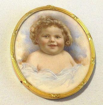 Antique miniature painting child portrait miniature gild frame