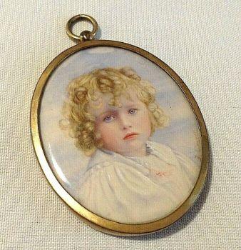Antique miniature painting child portrait miniature gild frame signed F Cooper