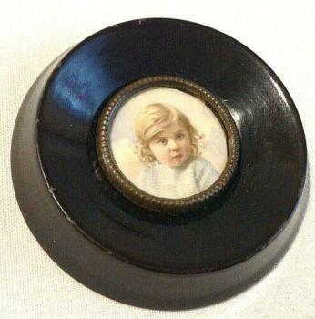 Antique painting child portrait miniature oval wood frame watercolour