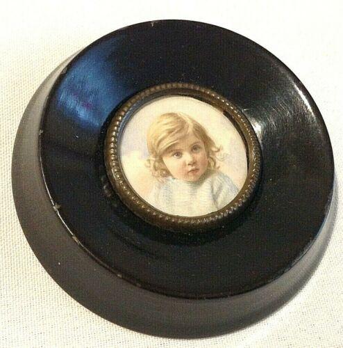 Antique miniature painting child portrait miniature gild frame watercolour