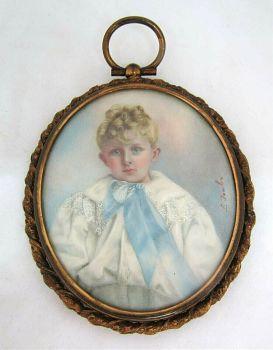 Antique miniature painting child portrait gild frame watercolour signed L Fowler