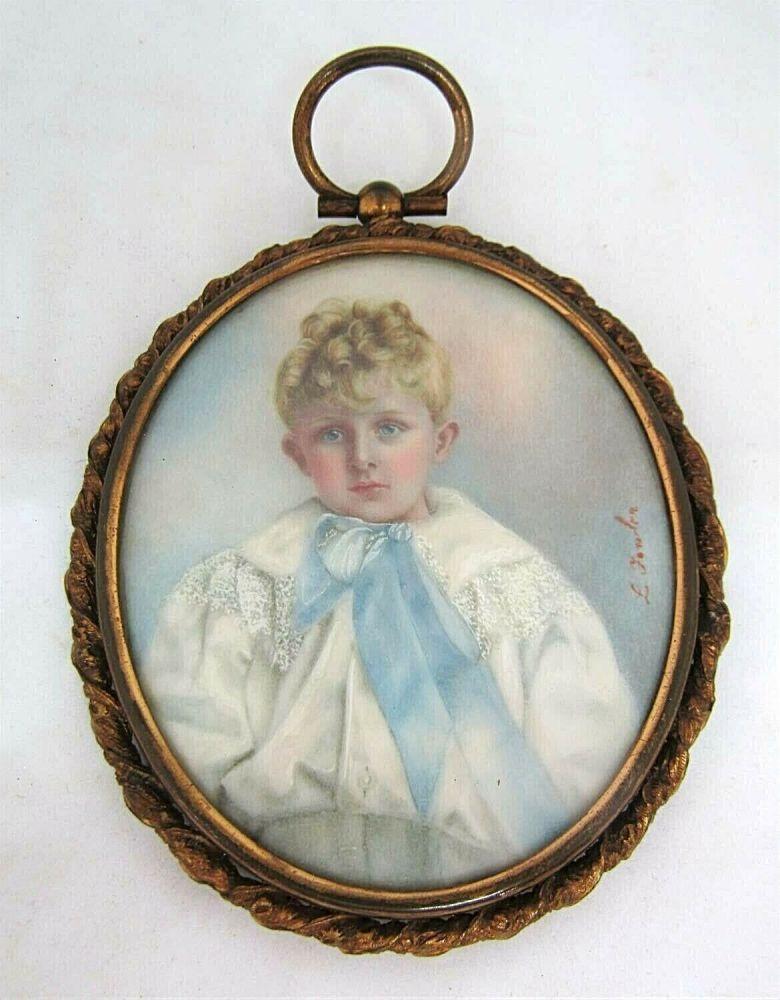 Antique miniature on wafer Georgian 1815 by Sigourney Pastorini gilt frame
