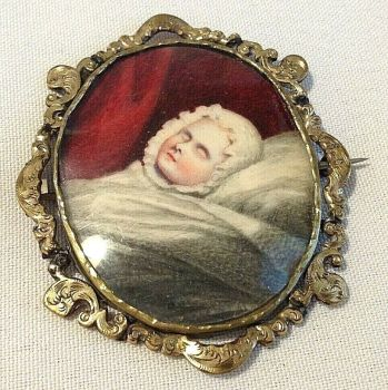 Antique miniature painting portrait watercolour sleeping child brooch pin