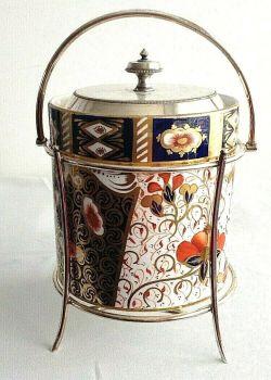 Antique Victorian Davenport Staffordshire biscuit barrel Imari 19th Century 1889