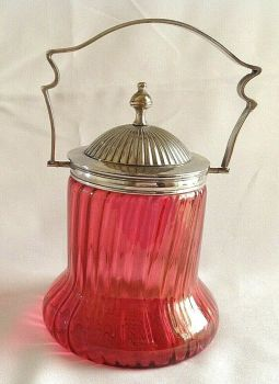 Antique cranberry glass silver plate plated biscuit barrel