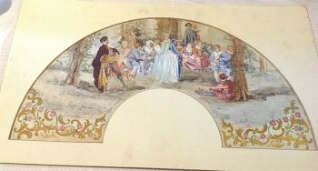 Antique large painted watercolour fan leaf mounted classic scene