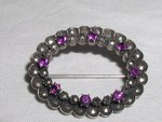 Antique Sterling Silver Marcasite Amethyst Brooch Pin