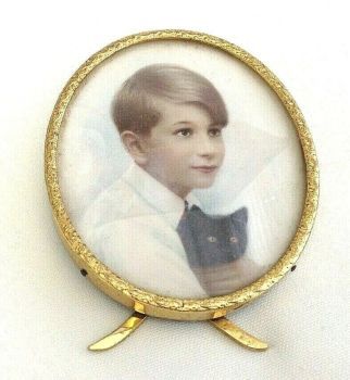 Antique portrait miniature early 20th century brass picture frame boy with cat
