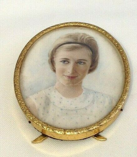 Antique portrait miniature early 20th century brass picture frame boy with