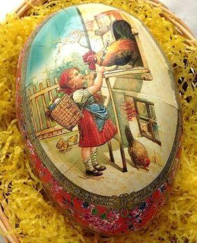 An Easter egg gift box chick chicks Girl feeding cockerel 25 cm