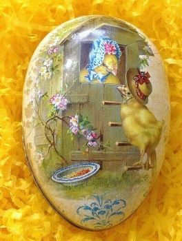 An Easter egg gift box bunny Chicks wearing Easter bonnets  Vintage style 12 cm