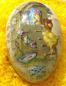 An Easter egg gift box bunny Chicks wearing Easter bonnets  Vintage style 18 cm