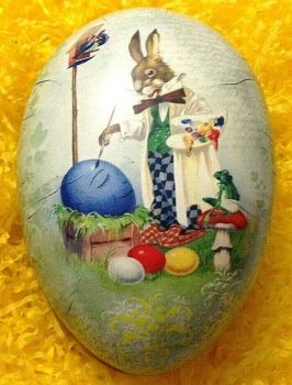 An Easter egg gift box bunny painting eggs  Vintage style 15 cm