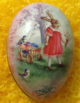 A Vintage style card Easter egg gift box bunny pulling a little cart of eggs 15 cm