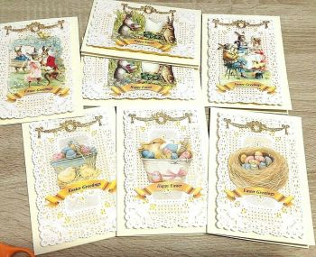 Antique style card Easter egg bunny rabbit set of 7 greeting cards paper lace