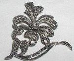 Antique Deco Sterling Silver Marcasite Flower Brooch Pin