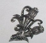 Antique Art Deco Sterling Silver Marcasite Brooch Pin