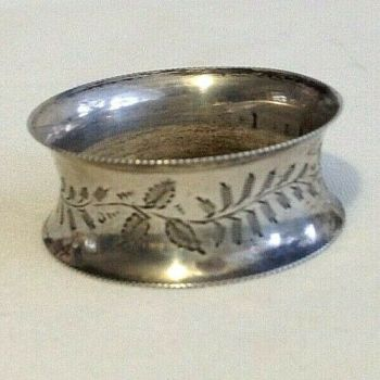 Antique silver napkin ring hallmarked Birmingham1881 christening present