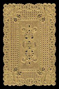 Dresden die cut scrap ornament gold paper lace 1252-0