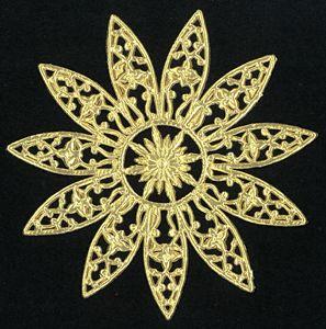 Dresden die cut scrap ornament gold paper lace star 1155