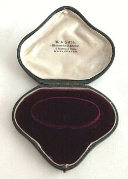 Antique heart shaped bracelet box plum velvet W L Hall Manchester