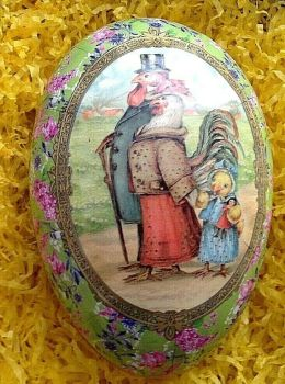 A Vintage style card Easter egg cockerel hen promenading  gift box 18 cm