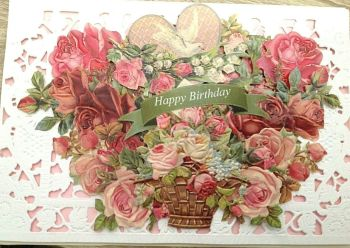 Pink roses Mothers Day paper lace greeting Card