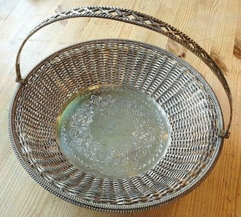 Antique Wilkinson Victorian rams head silver plate basket Royal Army Nursing Cor