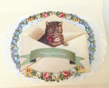 Cat in envelope Happy Birthday paper lace greeting card Victorian style