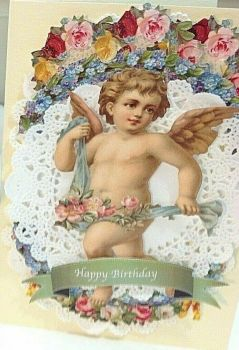 Cherub & flowers Happy Birthday paper lace greeting card Victorian style