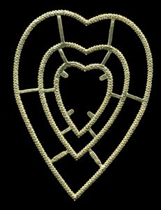 Dresden die cut scrap ornament gold paper lace heart good luck and love 1184