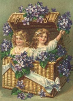 1 Antique Style Post Card Violets little girls in basket birthday or mothers day
