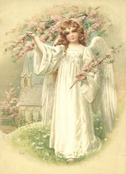 2 Antique Style Post Card Violets little angel Easter or Holy Communion