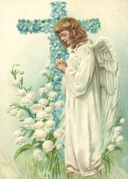 3 Antique Style Post Card Violets little angel Easter or Holy Communion