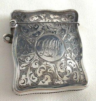 Antique Edwardian Sterling silver hallmarked vesta match safe case C1908