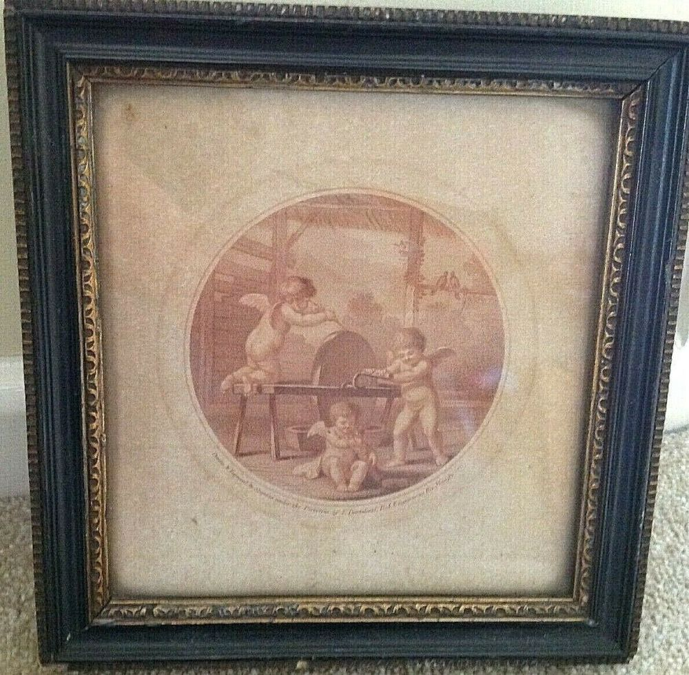 Antique Chinese Painting on glass immortal with peach