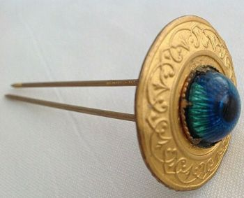 Antique gilded metal Edwardian hair comb two prong pin iridescent glass