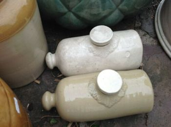 Antique Victorian pair Doulton Lambeth type stoneware pots water bottles