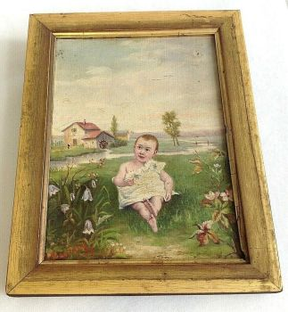 Antique signed Victorian naive small oil on canvas painting child baby meadow