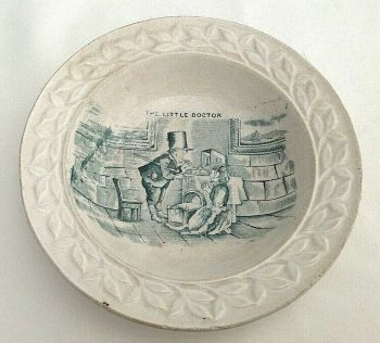 Antique china ceramic Victorian children's nursery plate porcelain Doctor