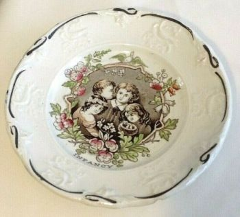Antique transfer print Victorian nursery Toddy plate Infancy