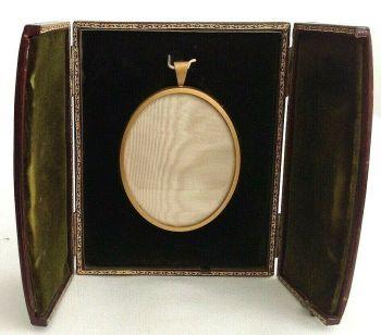 Antique portrait painting miniature display box frame gilt metal leather