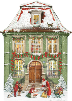 Advent Calendar Victorian Style Christmas at the town house Glittered