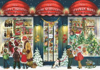 Advent Calendar Christmas Window Shopping greeting Card glitter and gold foil envelope A