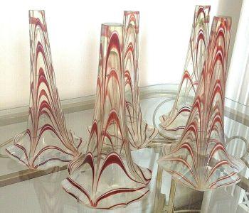 Antique Victorian Nailsea Vaseline swirl glass Eupergne flutes trumpets x 5
