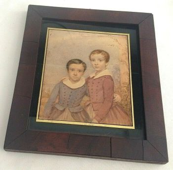 Antique early Victorian or Georgian Watercolour painting un signed 2 little boys